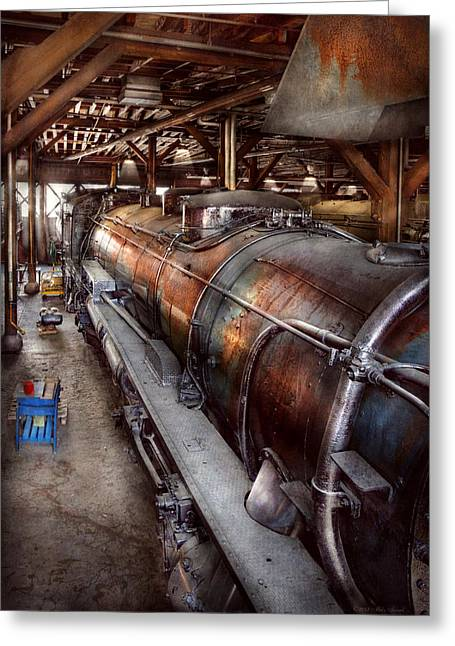 Rafters Greeting Cards - Locomotive - Routine maintenance  Greeting Card by Mike Savad