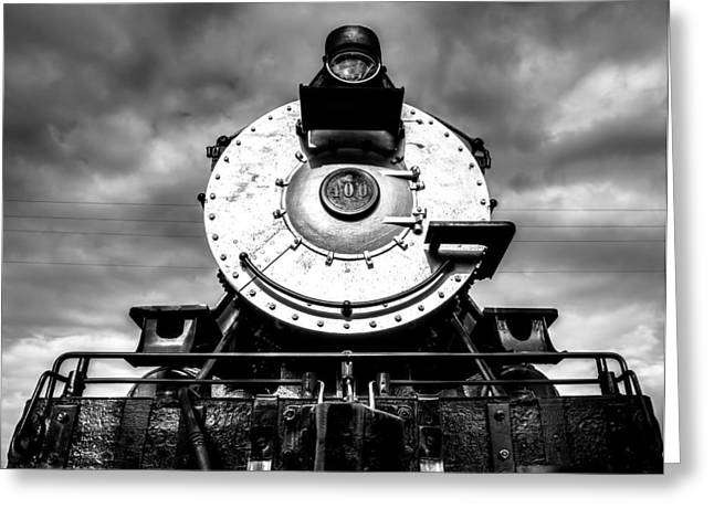 Locomotive Smile B And W Greeting Card by Geoff Mckay