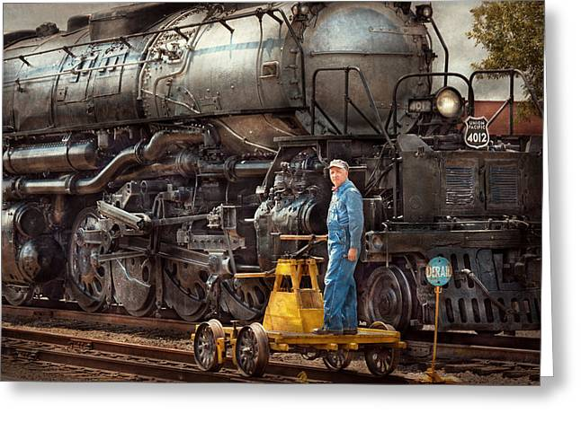 Custom Person Portrait Greeting Cards - Locomotive - The gandy dancer  Greeting Card by Mike Savad