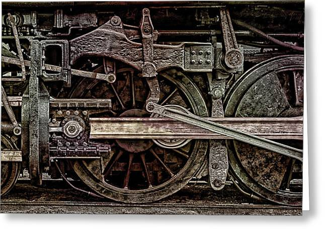 Locomotive Wheels Greeting Cards - Locomotive Wheel Study Greeting Card by Daniel Hagerman