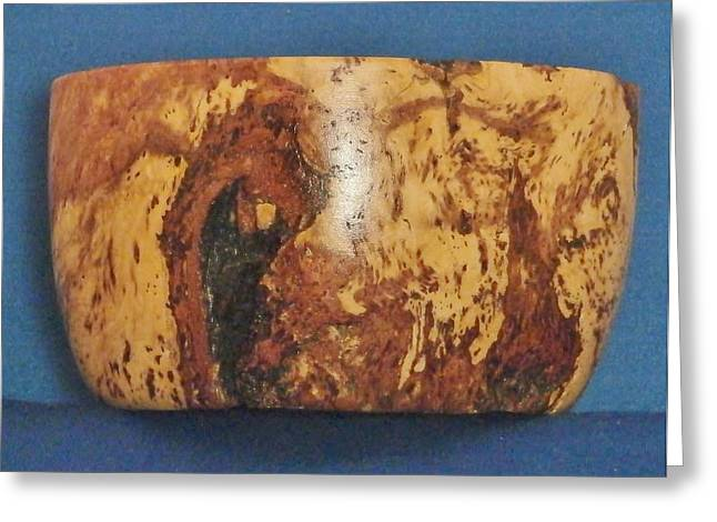 Woodcarving Sculptures Greeting Cards - Locust Beryl Bowl Greeting Card by Russell Ellingsworth