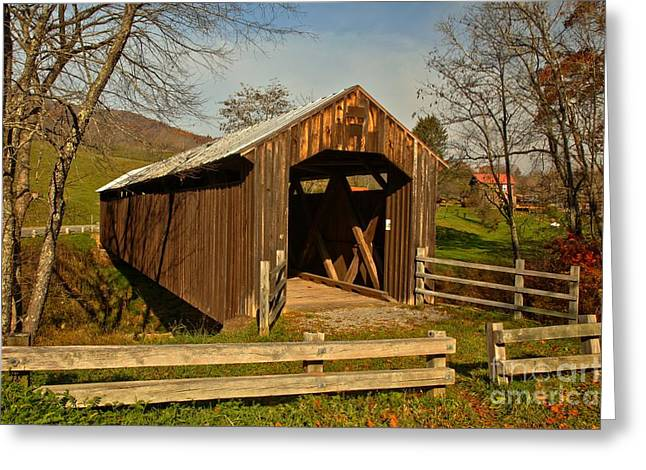Locust Greeting Cards - Locust Creek Covered Bridge Landscape Greeting Card by Adam Jewell