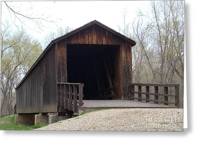 Mid Span Greeting Cards - Locust Creek Covered Bridge Greeting Card by Mark McReynolds
