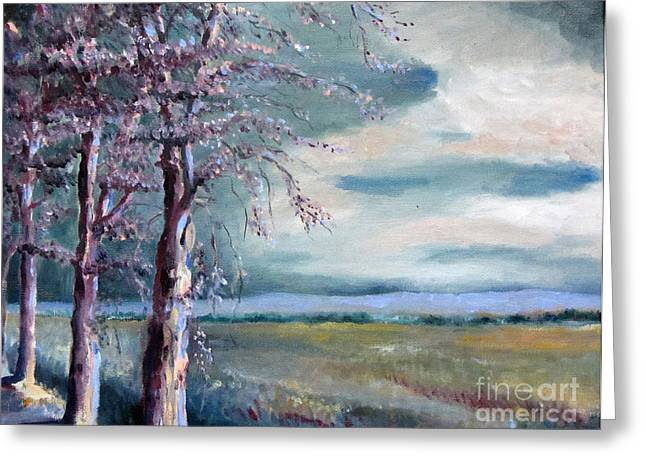 Franklin Farm Paintings Greeting Cards - Locust Trees Greeting Card by Rebecca Myers