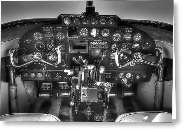 Airplane Greeting Cards - Lodestar Cockpit Greeting Card by Tim Stanley