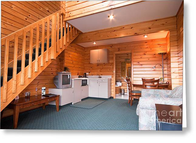 Chalet Decor Greeting Cards - Lodge apartment wooden interior detail Greeting Card by Jan Mika