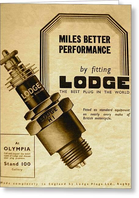 Lodge Spark Plug Greeting Card by Robert Phelan