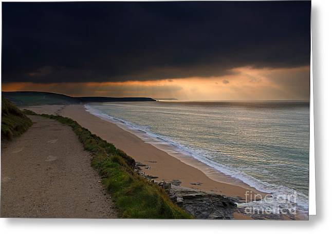 Stormy Weather Greeting Cards - Loe Bar Cornwall Greeting Card by Louise Heusinkveld
