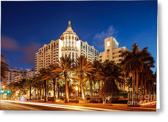 Sky Lovers Art Greeting Cards - Loews and St. Moritz Hotel on Collins Avenue at Dawn - Miami Beach Florida Greeting Card by Silvio Ligutti