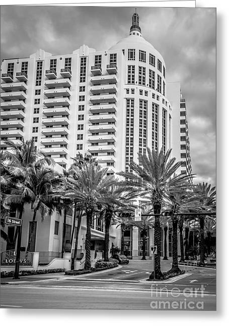 1930s Portraits Greeting Cards - Loews Hotel on 16th Miami Beach - Black and White Greeting Card by Ian Monk