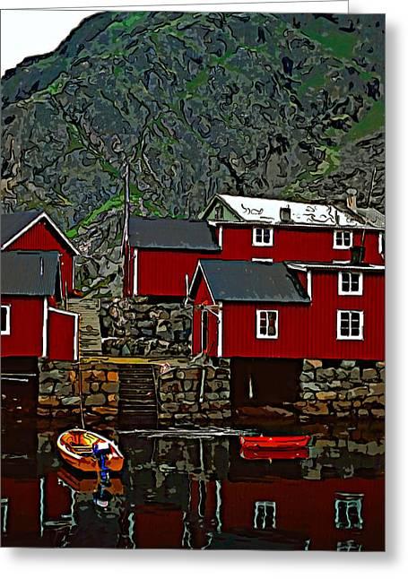 Lofoten Greeting Cards - Lofoten Fishing Huts 2 Greeting Card by Steve Harrington