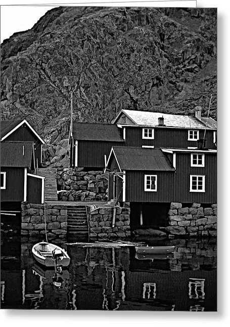 Cabin Wall Greeting Cards - Lofoten Fishing Huts bw Greeting Card by Steve Harrington