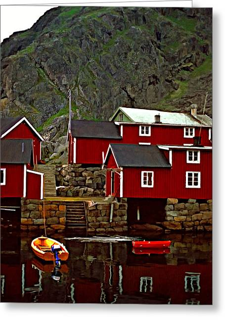 Lofoten Fishing Huts Oil Greeting Card by Steve Harrington