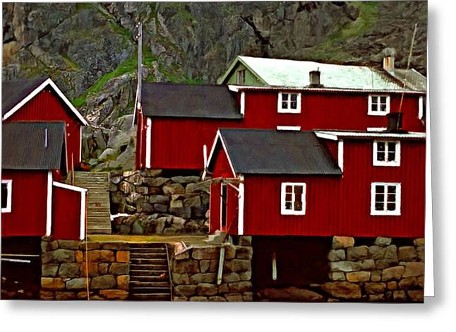 Lofoten Fishing Huts oil Greeting Card by Steve Harrington