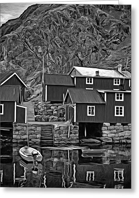 Lofoten Greeting Cards - Lofoten Fishing Huts - Paint 2 bw Greeting Card by Steve Harrington