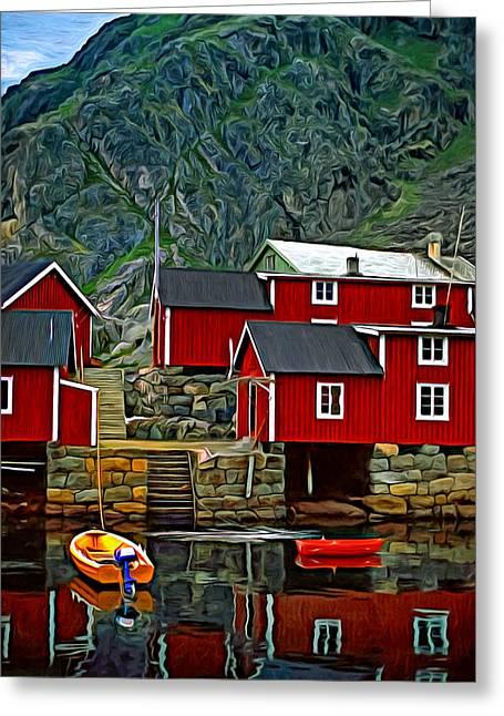 Lofoten Greeting Cards - Lofoten Fishing Huts - Paint 2 Greeting Card by Steve Harrington