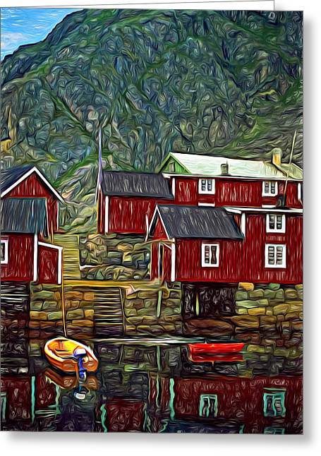 Lofoten Greeting Cards - Lofoten Fishing Huts - Paint Greeting Card by Steve Harrington