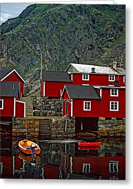 Steve Harrington Greeting Cards - Lofoten Fishing Huts Greeting Card by Steve Harrington