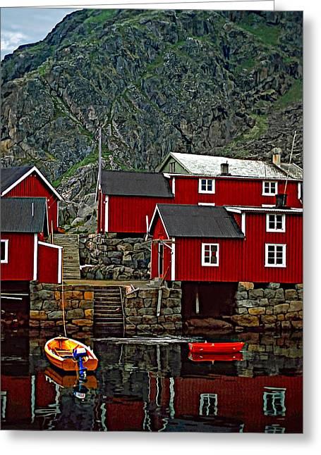Cabin Wall Greeting Cards - Lofoten Fishing Huts Greeting Card by Steve Harrington