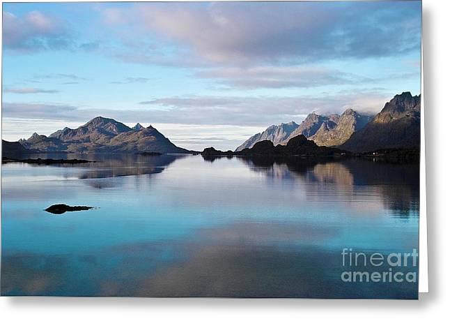 Peaceful Scene Greeting Cards - Lofoten Islands water world Greeting Card by Heiko Koehrer-Wagner