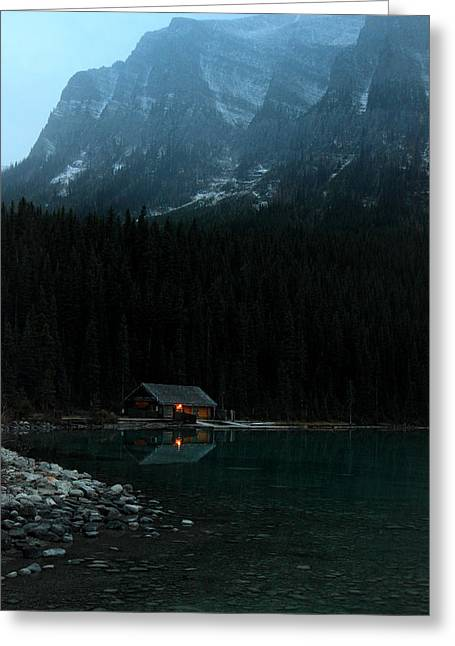 Log Cabins Greeting Cards - Log Cabin by the Lake Greeting Card by Pierre Leclerc Photography