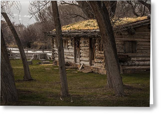 Log Cabin By The River Greeting Card by David Kehrli