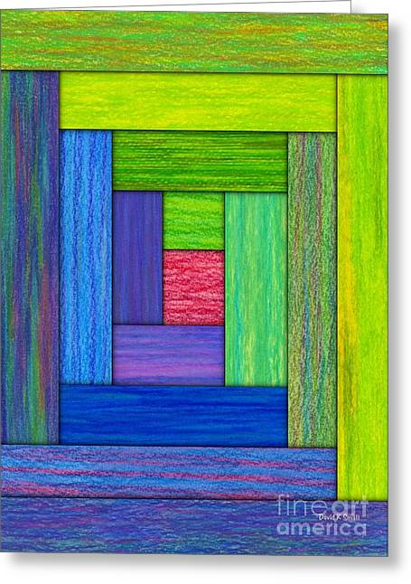 Abstract Digital Tapestries - Textiles Greeting Cards - Log Cabin Card Greeting Card by David K Small