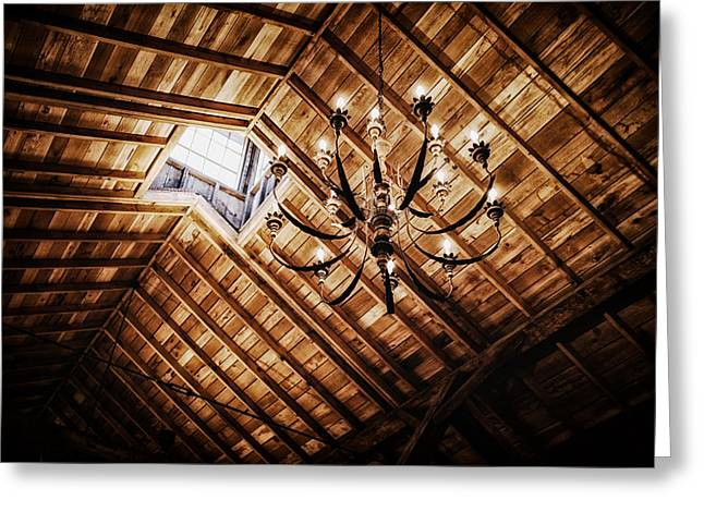 Log Cabins Greeting Cards - Log Cabin Chandelier  Greeting Card by Mountain Dreams