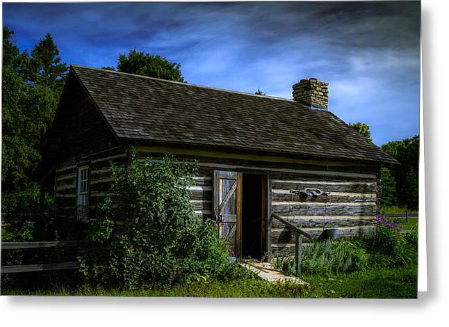 Historic Home Greeting Cards - Log Cabin Greeting Card by Chuck De La Rosa
