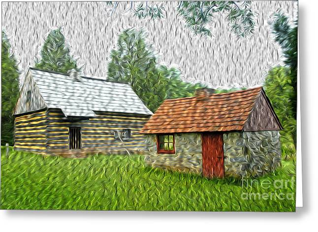 Pa Barns Greeting Cards - Log Cabin Days Greeting Card by Paul W Faust -  Impressions of Light