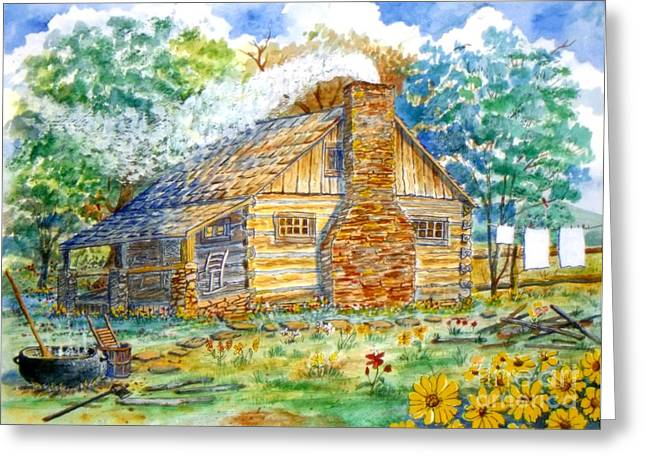 Log Cabin Mixed Media Greeting Cards - Log Cabin Greeting Card by Don Hand