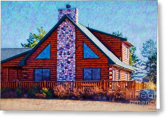Log Cabin Art Digital Art Greeting Cards - Log Cabin Home Greeting Card by Anna Surface
