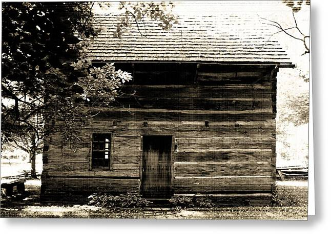 Log Cabin Home Greeting Card by Brenda Donko
