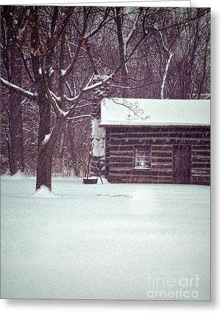 Winter Scenes Rural Scenes Greeting Cards - Log Cabin in Snow Greeting Card by Jill Battaglia