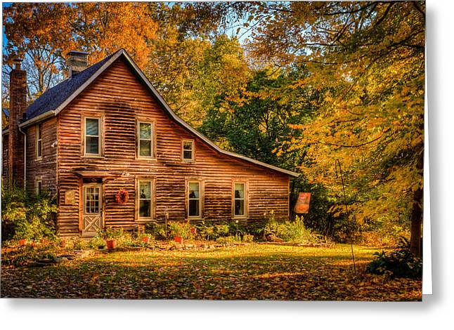 Log Cabins Greeting Cards - Log Cabin in the Fall Greeting Card by Keith Allen