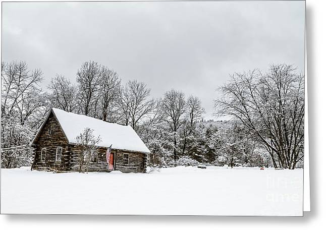 Cabin Window Greeting Cards - Log cabin in the snow Greeting Card by Edward Fielding