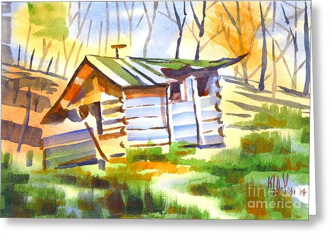 Ozark Mountains Greeting Cards - Log Cabin in the Wilderness Greeting Card by Kip DeVore