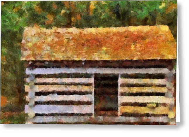 Man In The Wilderness Greeting Cards - Log Cabin In The Woods Greeting Card by Dan Sproul