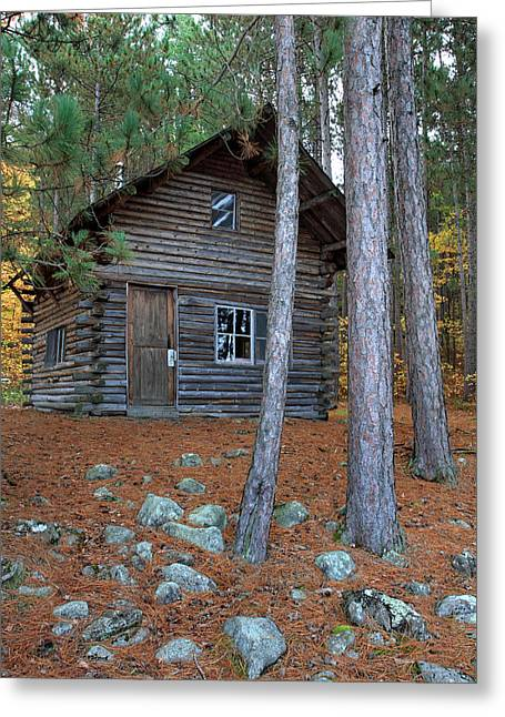 Log Cabins Greeting Cards - Log Cabin in the woods Greeting Card by Pierre Leclerc Photography