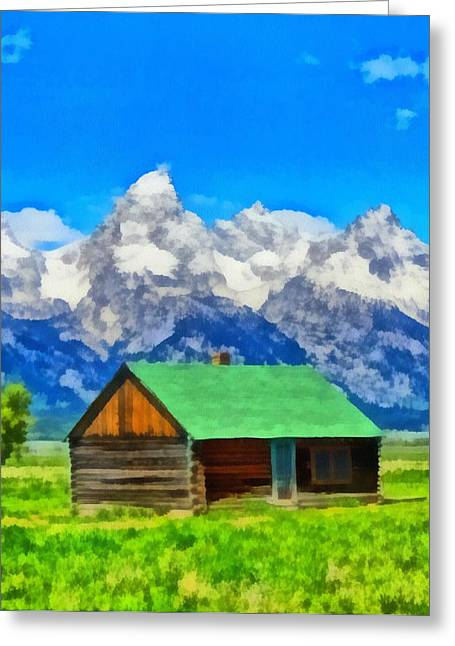 Log Cabins Greeting Cards - Log Cabin In Wyoming Greeting Card by Dan Sproul