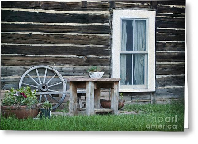 Log Cabin Greeting Card by Juli Scalzi