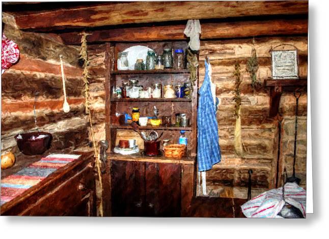 Log Cabin Living Room Greeting Card by Doc Braham