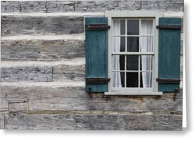 Cabin Window Greeting Cards - Log Cabin Greeting Card by Mike Burgquist