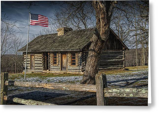 Log Cabin Photographs Greeting Cards - Log Cabin Outpost in Missouri with American Flag Greeting Card by Randall Nyhof