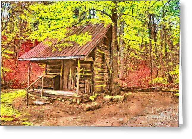 Renfro Greeting Cards - Log Cabin Renfro Valley KY Greeting Card by Anne Kitzman