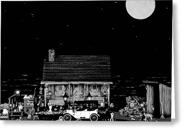 Scenic Drive Greeting Cards - LOG CABIN SCENE  WITH THE OLD VINTAGE CLASSIC 1913 Buick model 25 in black and white Greeting Card by Leslie Crotty