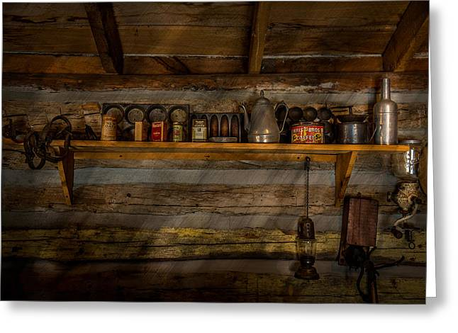 Log Cabin Shelf Greeting Card by Paul Freidlund