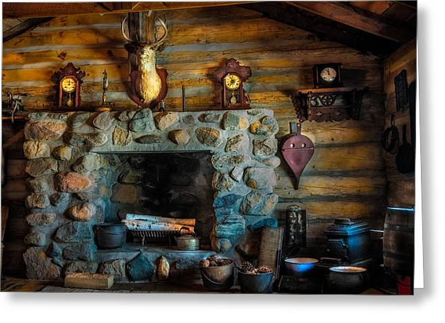 Log Cabins Greeting Cards - Log Cabin with Fireplace Greeting Card by Paul Freidlund