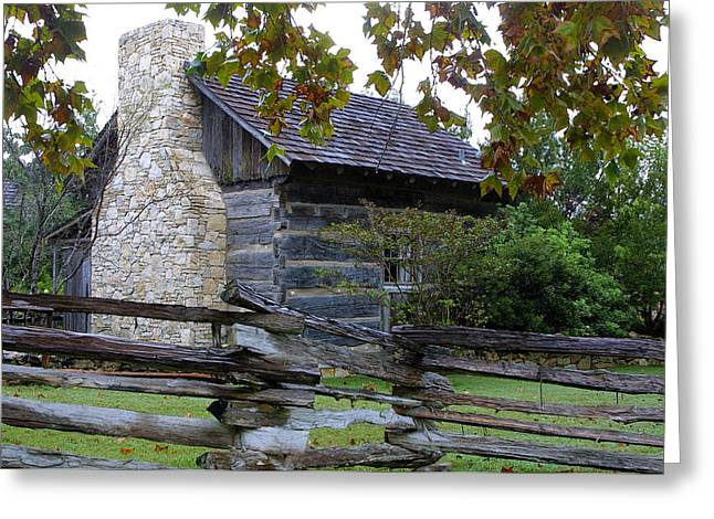 Split Rail Fence Greeting Cards - Log Cabin with  Split Rail Fence Greeting Card by Linda Phelps