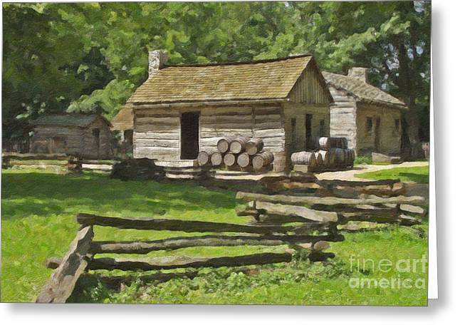 Log Cabin Photographs Digital Greeting Cards - Log Cabins at New Salem Illinois Greeting Card by Tad Gage